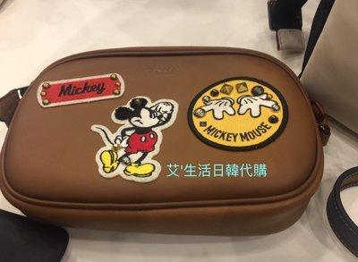 代購現貨 Coach x Disney 聯名系列 米奇真皮雙拉鍊徽章斜背包