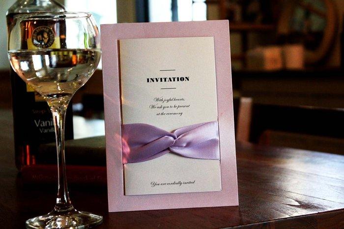 『潘朵菈精緻婚卡』影像設計喜帖 ♥ 緞帶20元喜帖系列 ♥ 喜帖編號:W-80112