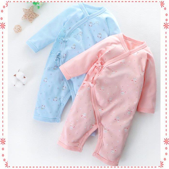 新生兒肌著/寶寶長袖連身衣/新生兒側扣綁帶連身衣☆貝克比比屋☆