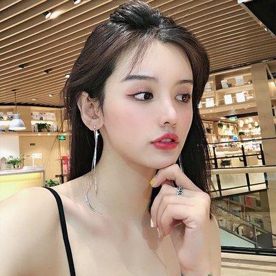 韓國Baby~超仙長款流蘇耳線耳環女簡約氣質法式小眾耳釘適合圓臉的顯瘦耳飾