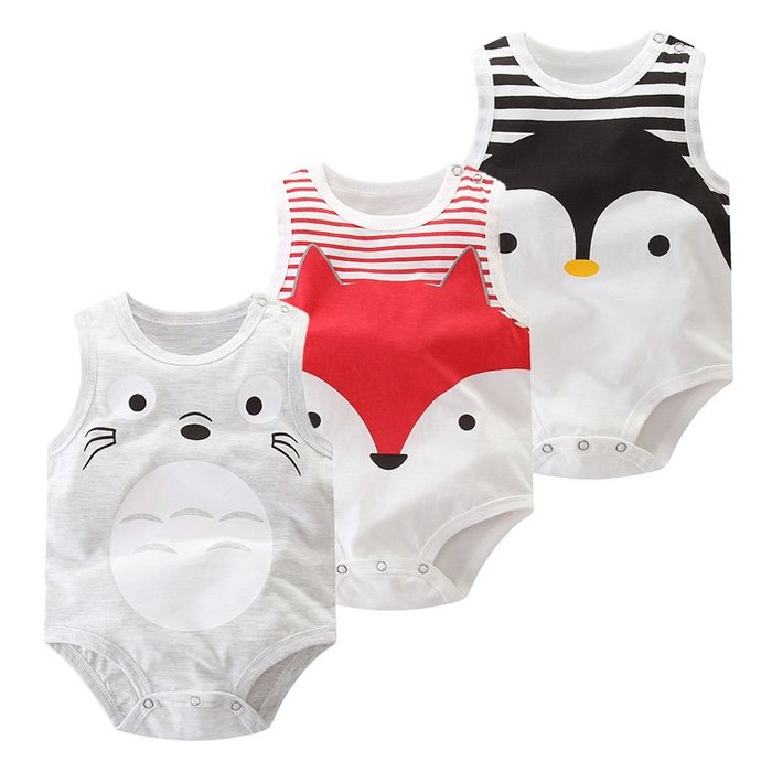 【溜。溜。選物】男童女童*新生兒夏裝無袖背心連體衣三角哈衣寶寶爬服
