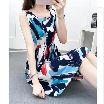 [C.M.平價精品館]M~3XL清爽舒適簡約有型圓領腰間綁帶無袖洋裝