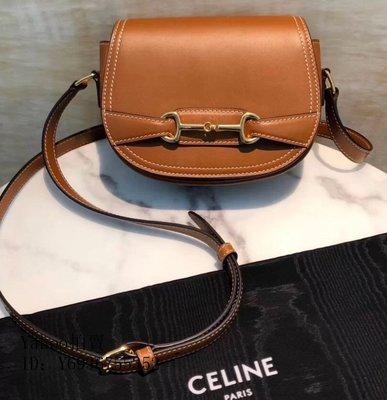 Simon二手正品Celine賽琳 crecy bag 馬鞍包 焦糖色 棕色 經典馬銜扣 CELINE 包包 現貨