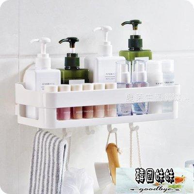 置物架 浴室強力吸盤置物架廚房壁掛式儲物架塑料免釘壁掛沐浴用品收納架·   【韓國妹妹】