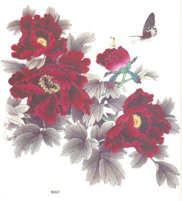 【萌古屋】水墨牡丹紅花朵大圖 - 男女防水紋身貼紙刺青貼紙K38