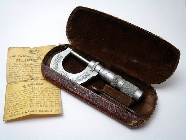 【timekeeper】  英國製Moore & Wright古董Micrometer Caliper螺旋測微器(原裝盒)(工具)(免運)