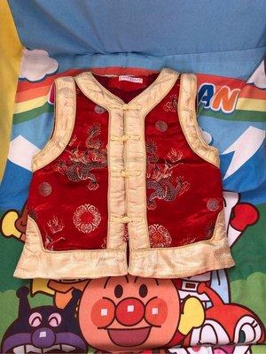新年 紅金色 唐裝背心上衣 外套 銹龍圖案衫 角色扮演衫 舒適舒服 服裝 小童 BB 嬰兒