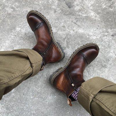 復古英倫風真皮拉鏈百搭圓頭切爾西馬丁手工裝短靴男高幫機車潮鞋