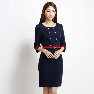 【80118】職業男女OFFICE ☆ STAR 修身款七分袖深藍色洋裝 2L-5L