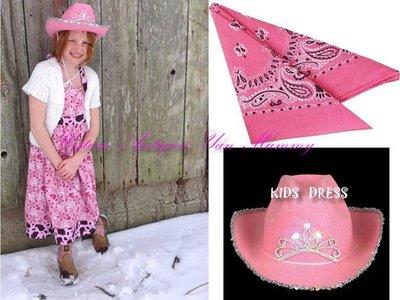 美國進口粉紅閃爍皇冠燈女牛仔造型帽.領巾~萬聖節攝影生日派對出租
