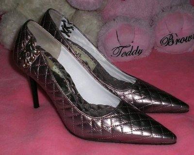 ☆甜甜妞妞小舖 ☆專櫃真品 CUMAR 古銅色女皮鞋---高跟尖頭包鞋----36.5號
