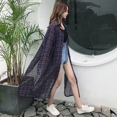 格子襯衫正韓版夏季新款格子長袖襯衫上衣...