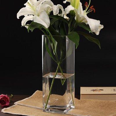 店長嚴選水晶玻璃透明大號花器百合富貴竹仿真插花四方直筒落地花瓶擺件