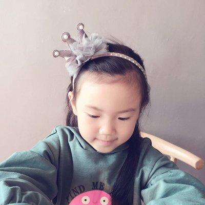 宏美飾品館~韓國新品兒童發飾頭飾發卡可愛洋氣小公主紗網布藝蝴蝶結皇冠發箍