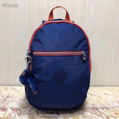 Kipling 猴子包 K15016 藍橘拼色 中款 拉鍊後背包 旅遊包 左右二側有口袋 加厚背帶 輕量 耐磨 防水