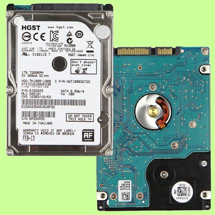 5Cgo【權宇】HGST日立HTS721010A9E630硬碟SATA 2.5吋1TB 1T 7.2K 32M 6G含稅