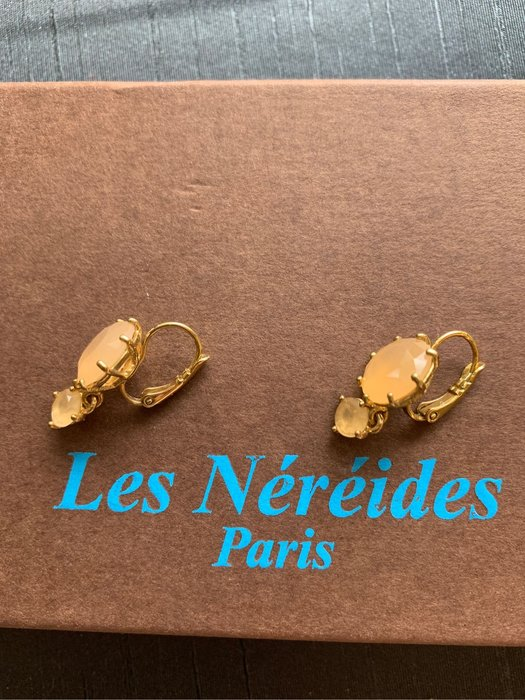 (漂亮2手)法國品牌 Les Nereides 星鑽系列 垂墜 耳環