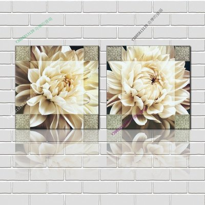 【40*40cm】【厚2.5cm】印象白花-無框畫裝飾畫版畫客廳簡約家居餐廳臥室牆壁【280101_210】(1套價格)