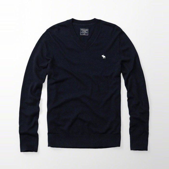 美國百分百【Abercrombie & Fitch】針織衫 AF 毛衣 麋鹿 V領 羊毛 線衫 深藍 XS號 H401
