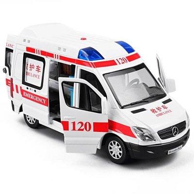 哆啦本鋪 模型車 卡威120救護車合金車模110警車模型回力車仿真汽車模型兒童玩具車D655