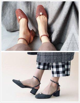 【鳳眼夫人】獨立設計品牌訂製款 2色 vintage真皮復古鑲嵌珍珠一字扣帶露跟涼鞋 韓版 繞踝綁帶圓頭涼鞋仙女必BUY