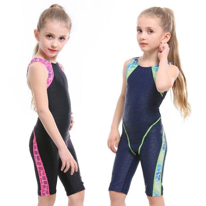 【小阿霏】兒童訓練泳衣 女童側邊漸層魚鱗五分褲連身式泳裝 女孩一件式專業競速泳衣SW76