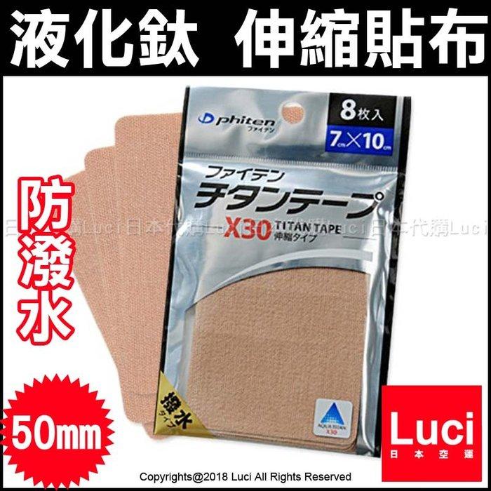 防潑水 方型 7.0cm X 8片 銀谷 福田 Phiten 活力伸縮貼布 TITAN TAPE LUCI日本代購