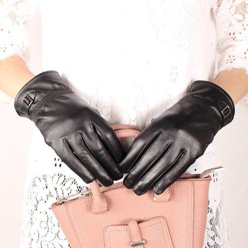 真皮手套 保暖手套-羊皮加絨皮扣黑色女手套73wm69[獨家進口][米蘭精品]