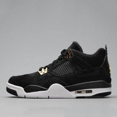 運動鞋服正品專櫃牛哄哄  Air Jordan 4 Royalty AJ4 黑金 麂皮 408452-308497-032