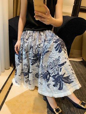 《巴黎拜金女》水墨印花超重工6米飄逸大擺純棉面料高腰半身裙