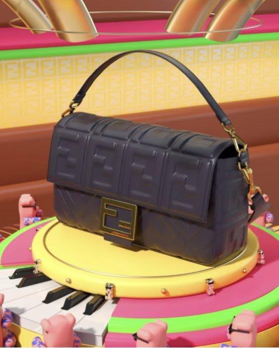 Fendi 8BR771 Baguette shoulder bag FF 法棍肩背包 黑