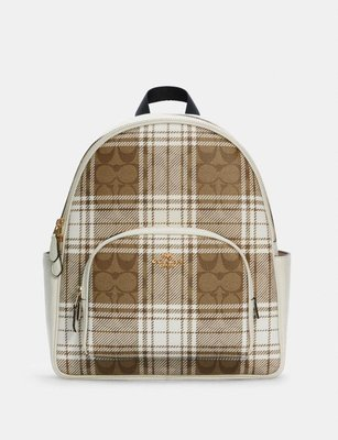 coach Court Backpack In Signature Canvas With Hunting Fishin