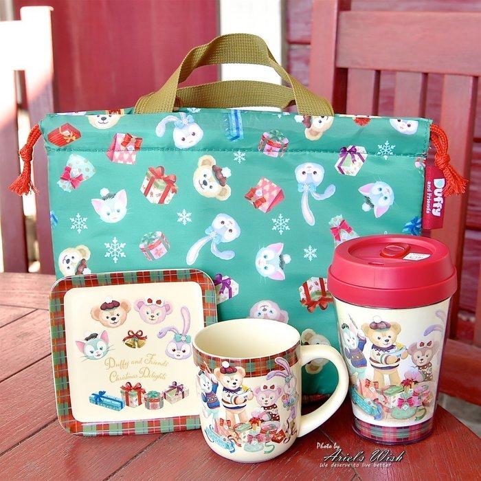 Ariel Wish日本東京迪士尼聖誕節達菲熊Duffy雪莉玫傑拉東尼Stella史黛拉兔兔保溫便當袋野餐袋手提袋-現貨
