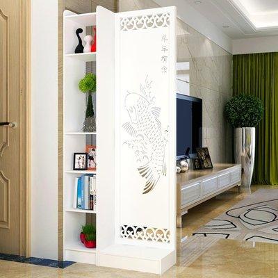 屏風隔斷客廳玄關櫃現代時尚移動門廳裝飾櫃鏤空雕花櫥窗背景  免運