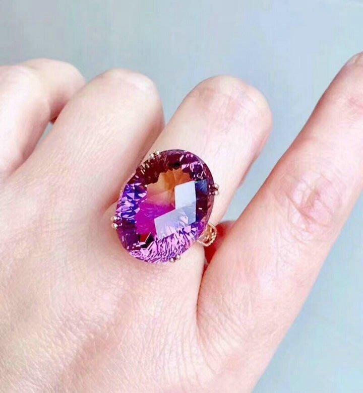 紫黄水晶萬花璀燦專利車工貴婦活圍戒指,主石25克拉以上