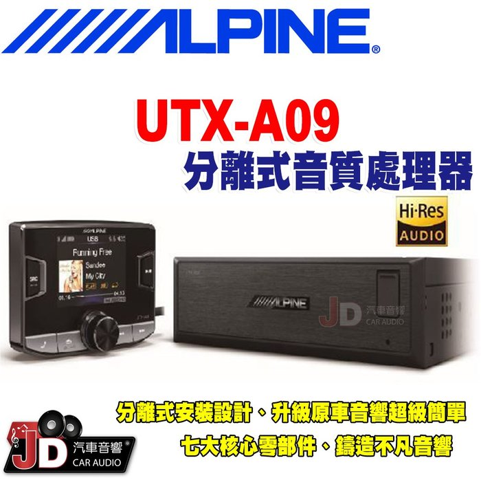 【JD汽車音響】ALPINE UTX-A09 分離式Hi-Res高音質媒體播放器 USB/iPod/iPhone。竹記貨