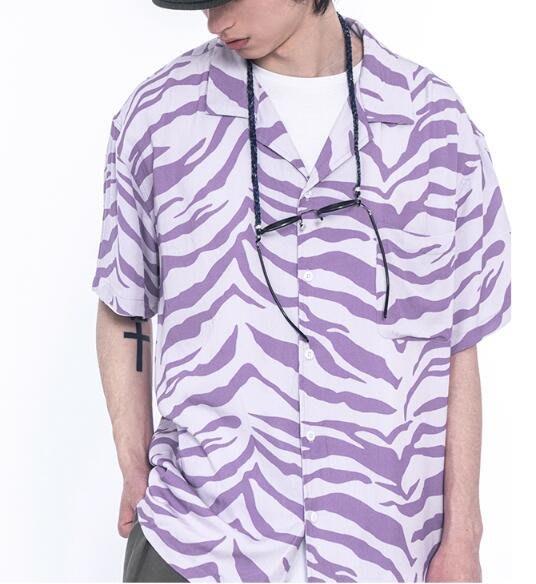 FINDSENSE X 男款 時尚 寬鬆舒適日系男裝夏威夷虎紋圖案短袖男士襯衫 衛衣襯衫上衣