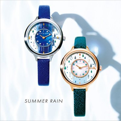 薇安手錶集市~現貨 2021日本Star透視女士真皮貝母透明手錶夏雨雨滴Jewelry腕錶