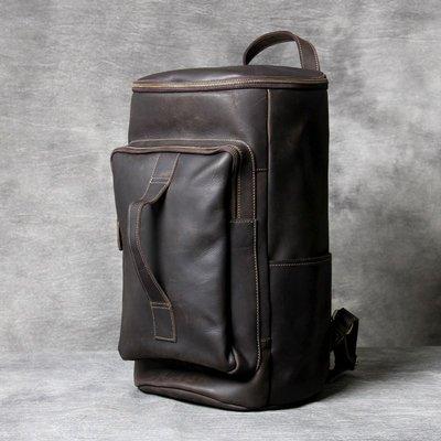 後背包真皮雙肩包-棕色瘋馬牛皮圓筒男女包包73vz26[獨家進口][米蘭精品]