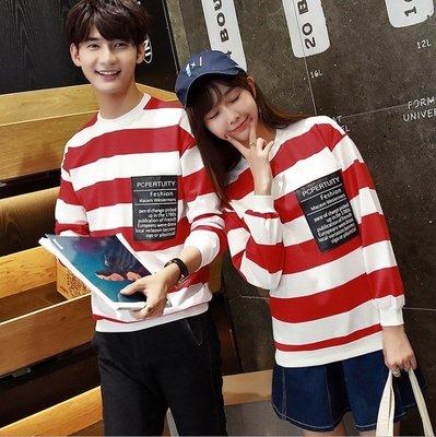 情侶裝 長袖條紋T恤 中大尺碼 韓版現貨 #169604【衣情】