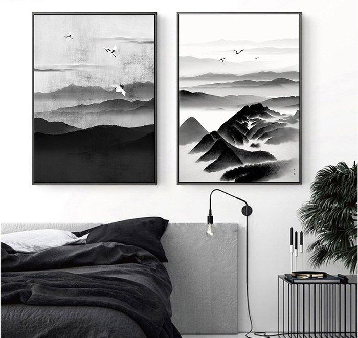 三聯中式山水裝飾畫芯現代客廳禪意水墨過道走廊掛畫玄關書房畫(4款可選)