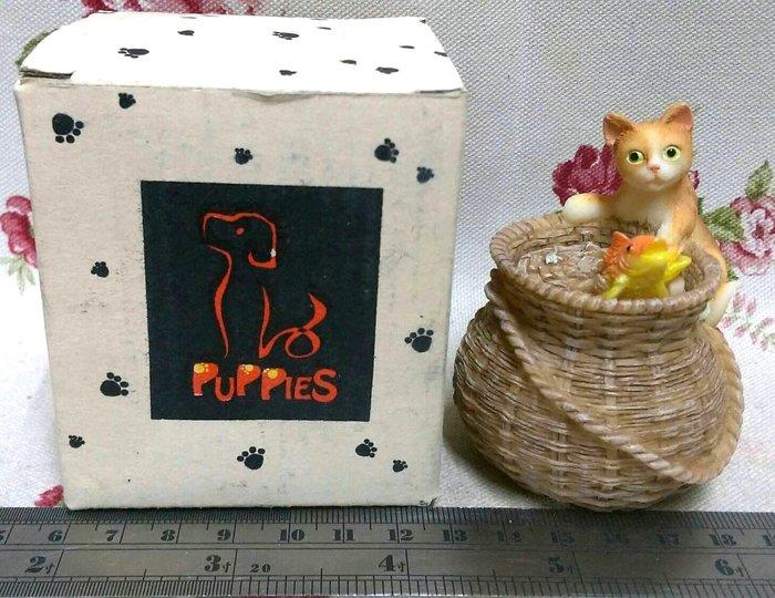 龍廬-庫存出清~波麗彩繪樹脂製品-貓咪雙魚簍子造型置物盒擺件擺飾