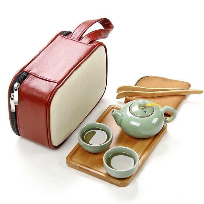 旅行茶具套裝戶外旅游便攜式快客杯一壺四杯汝窯辦公室茶壺竹茶盤 LR3523TW