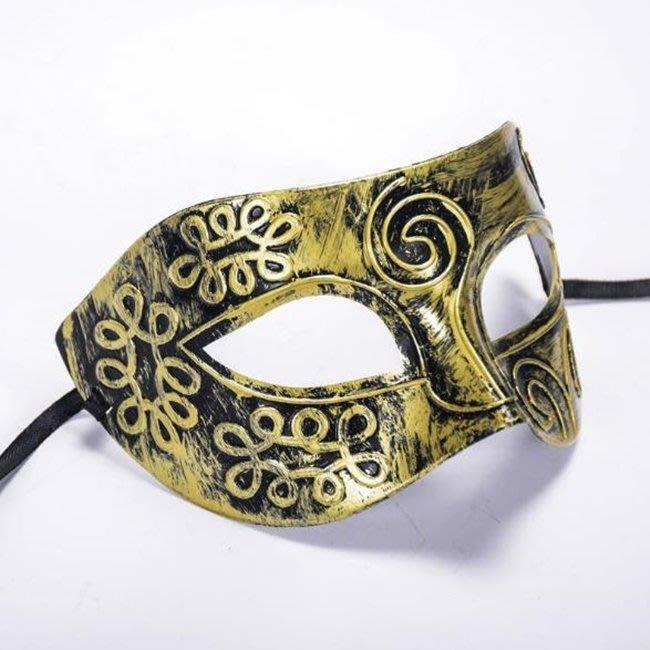 騎士面具 平頭雕花 騎士面罩(半臉) 古戰場 威尼斯面具 半臉面具 COSPLAY 舞會面罩【塔克】