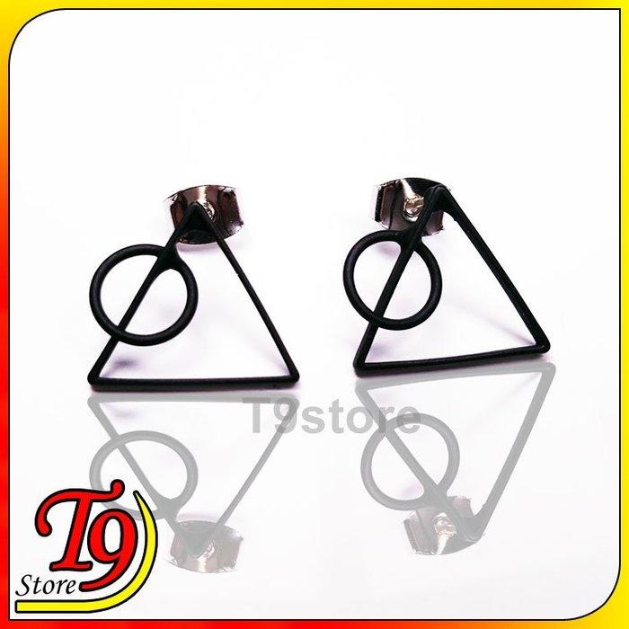 【T9store】韓國製 三角形圓形貼耳式耳環