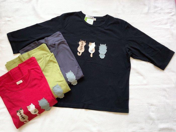 日本卡拉貓~三貓背影純棉七分袖上衣