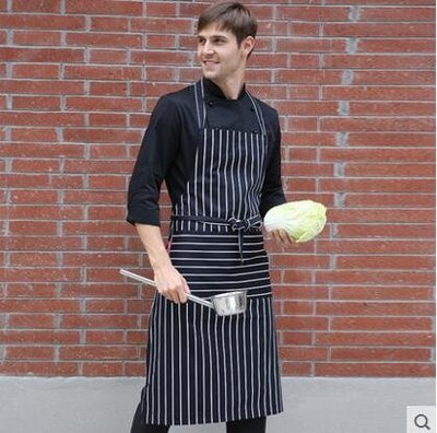 【優上】圍裙韓版廚房工作服做飯圍腰咖啡店韓式成人男士圍裙「粉筆條「男女同款」
