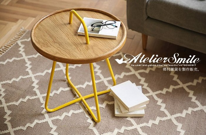 [ Atelier Smile ] 鄉村雜貨 北歐設計 美國進口白橡木 馬卡龍鈕扣桌 茶几 邊桌 六色選 (現+預)