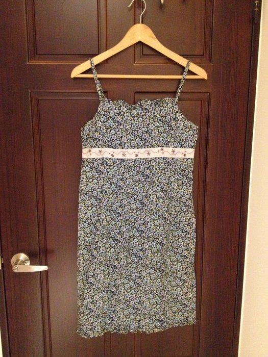 良品 9成新 American Eagle 背心裙 吊帶裙 洋裝 長裙 內搭 100%純棉 美國買回 AE 藍色小花
