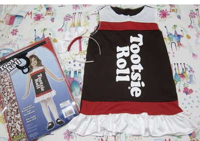 二手轉售-購於美國Tootsie Roll巧克力太妃糖連身洋裝+髮飾/halloween萬聖節日派對角色扮演造型道具服